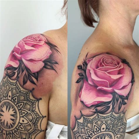 tattoo mandala realistic realistic rose pink with dotwork mandala tattoos aachen