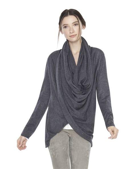drape wrap around sweater alice olivia drape wrap around sweater in gray charcoal