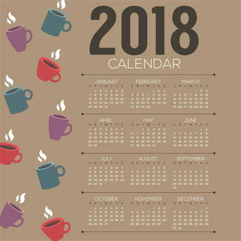 2018 Calendar Template With Coffee Vector 02 Vector