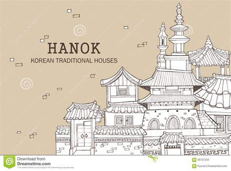 Asian Style House Plans korean traditional houses b stock illustration image
