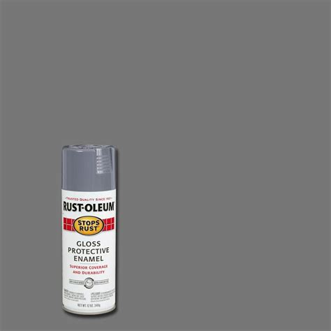 rust oleum stops rust 12 oz protective enamel gloss smoke gray spray paint 7786830 the home depot