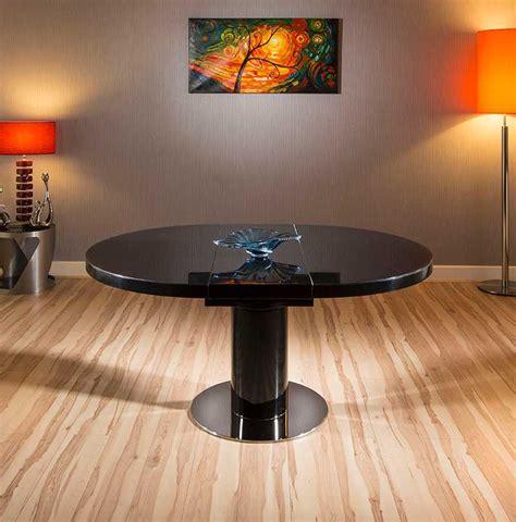 modern dining table black glass gloss oval extending