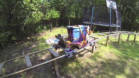 backyard pvc roller coaster final weight testing backyard pvc roller coaster youtube