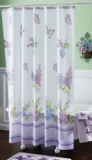 Wash Shower Curtain Spring Bathroom Decor Purple Butterflies W Lilac Floral