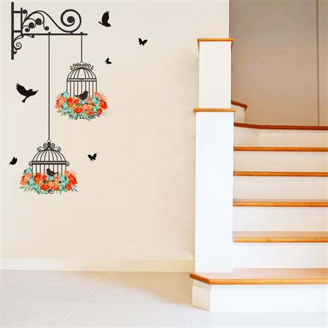 birdcage wall stickers flower vine bird cage wall stickers decal home decor mural decal paper lobby ebay