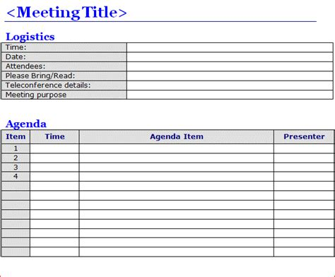meeting template free meeting agenda templates