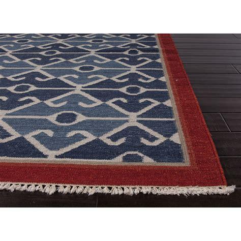 tribal pattern rug jaipur rugs flatweave tribal pattern blue red wool area