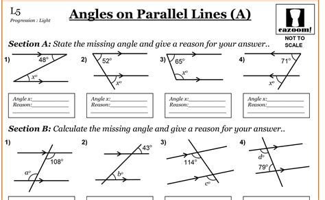 angles between parallel lines worksheet year 7 maths worksheets cazoom maths worksheets
