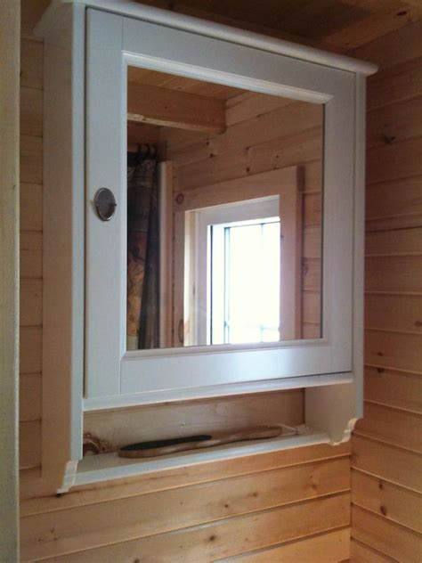 Bathroom Mirror With Storage Inside Tumbleweed Fencl Tiny House