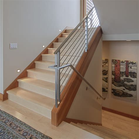 dark wood banister stair banister ideas staircase contemporary with dark wood baseboard light