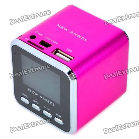 1 4 quot lcd mini usb rechargeable mp3 player speaker w alarm clock tf usb line in 3 5mm