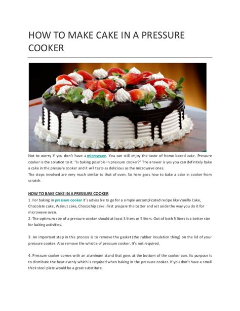 how to make cake in a pressure cooker
