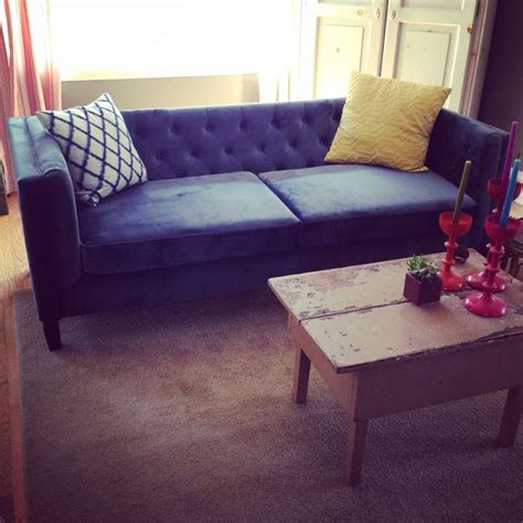 cost plus couch love our new blue velvet tufted sofa from cost plus world