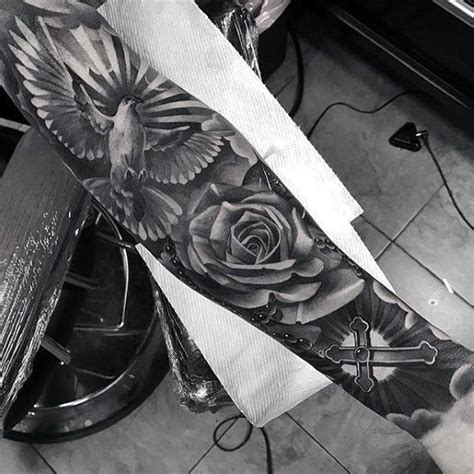 rose tattoo sleeve for men 50 badass cross tattoos for manly design ideas