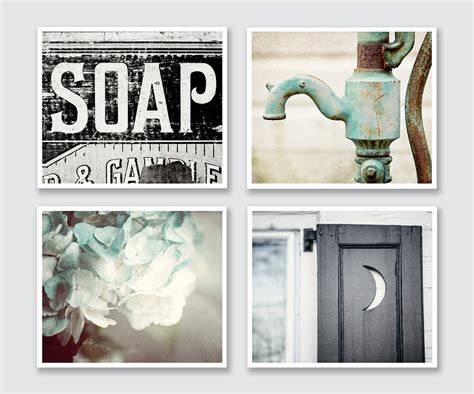 poster bathroom rustic bathroom print or canvas set of 4 lisa russo fine