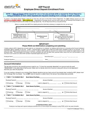 Adp Background Check Form Adp Direct Deposit Form Fillable Fill Printable Fillable Blank Pdffiller