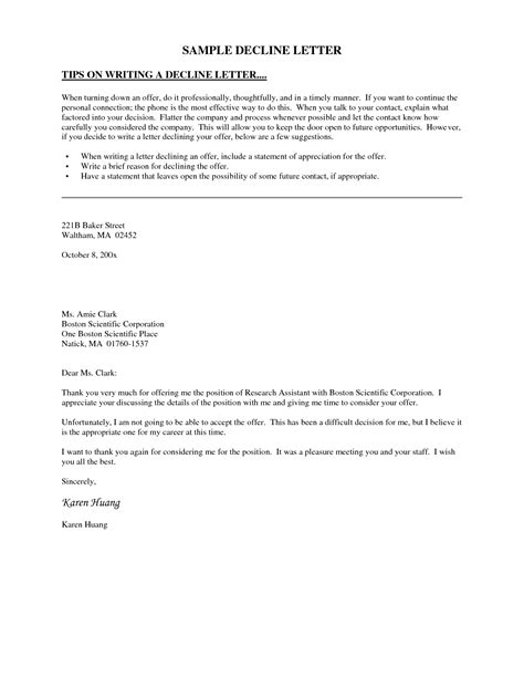 Sle Letter To Decline Offer sle rejection letter because of 100 images how can i