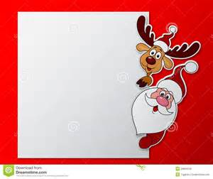 paper card with santa clause and deer with blank sign royalty free stock photos image 29664318