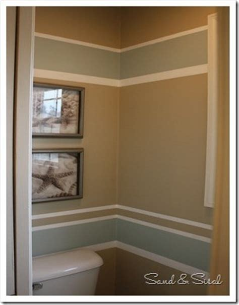 powder room painted stripes paint colors sherwin williams rainwashed putty color