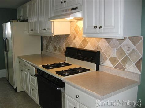 painting kitchen backsplash diy painted tile backsplash for the home pinterest