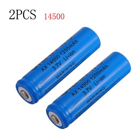 Battery Li Ion 14500 1200 Mah buy 2 pcs 14500 1200mah 3 7v icr li ion lithium rechargeable battery bazaargadgets