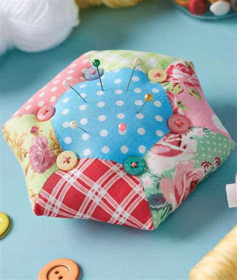 Patchwork Pincushion Pattern - hexi pincushion and basket patterns inspiration