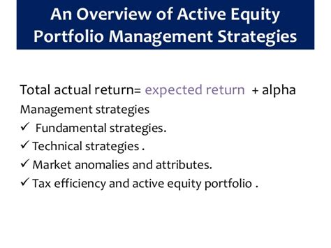 Active Equity Portfolio Management equity portfolio management strategies reilly and brown
