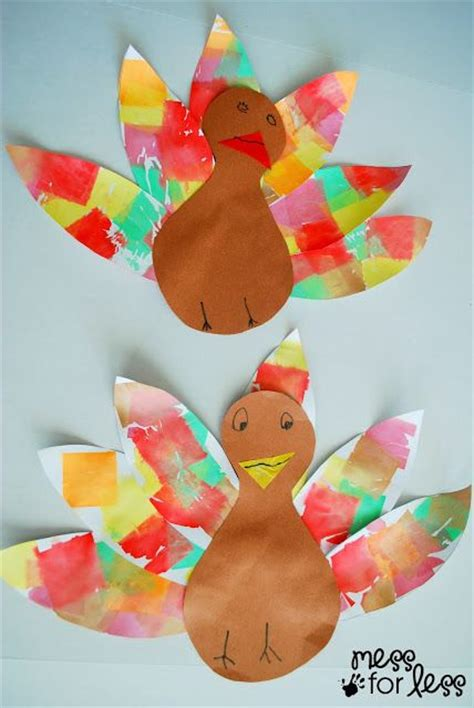 Tissue Paper Turkey Craft - tissue paper turkey craft tissue paper feathers and