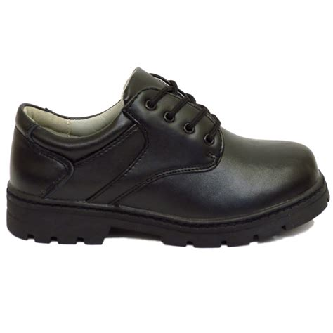 boys childrens black leather school lace up comfort