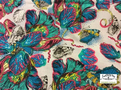 butterfly garden bugs nature neon floral cotton