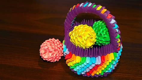 How To Make Origami Easter Eggs - 3d origami easter egg to the basket of paper tutorial