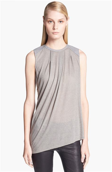 helmut lang draped top helmut lang draped wool blend top in gray faint grey lyst