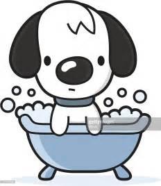 in a bathtub cartoon dog takes a bath in the bathtub vector art getty images