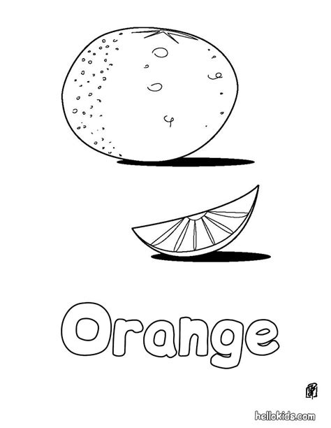 Fruit Coloring Pages Orange Orange Coloring Pages