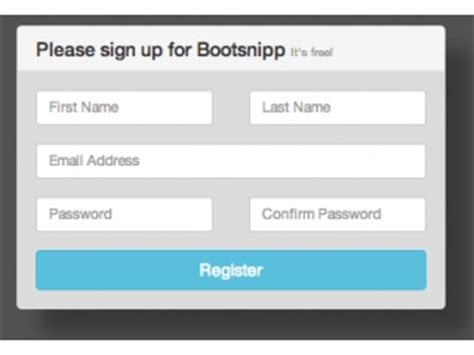 bootstrap templates for signup form bootstrap snippet simple registration form using html