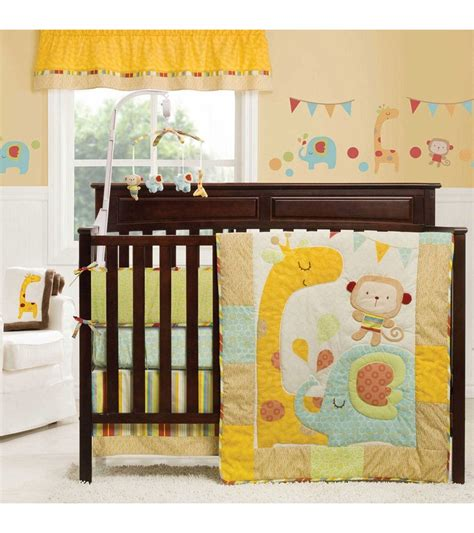 jungle crib bedding sets graco jungle friends 4 crib bedding set by kidsline