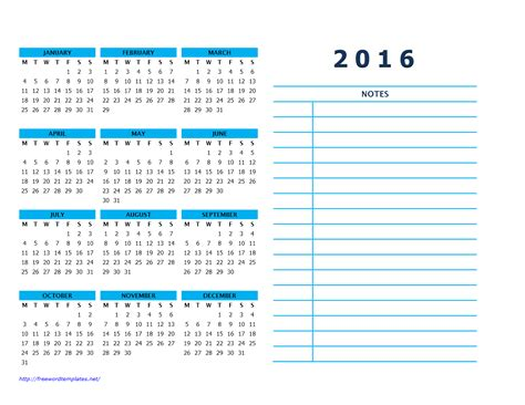 calendar template with notes 2016 calendar templates
