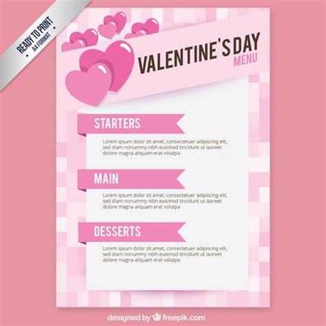 pink valentines day menu vector free