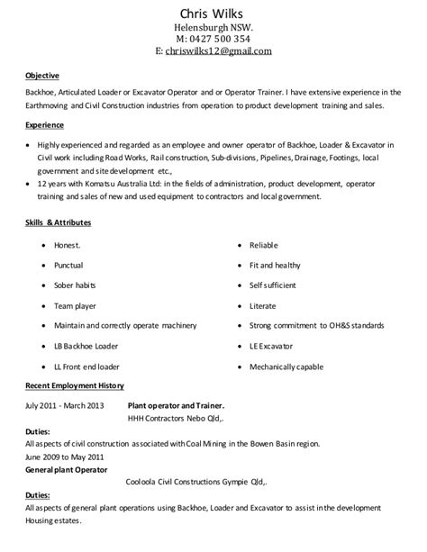 Concrete Plant Operator Sle Resume by Power Plant Operator Resume Objective 28 Images Tutor Experience On Resume Power Plant