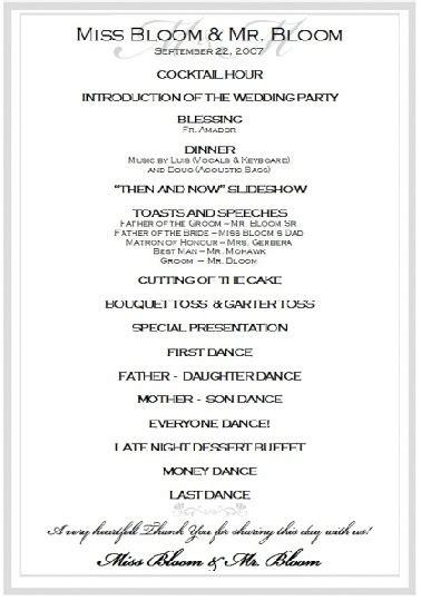 sample wedding reception program ceremony wedding reception program wedding reception