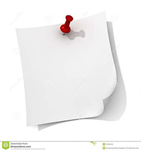Kertas Post It White Note Paper With Push Pin Stock Illustration