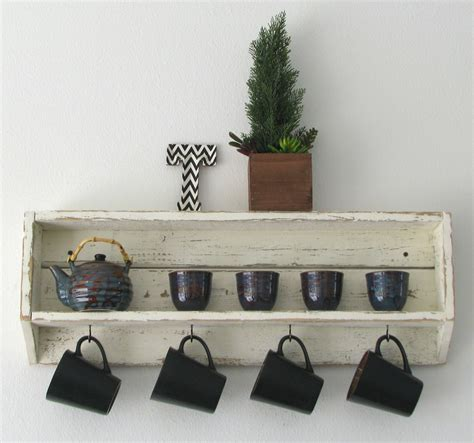 Handmade On The Shelf - handmade tea and coffee shelf in distressed white