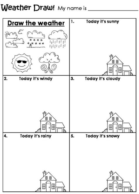 types of sheets draw the weather worksheet by beverley pinteres