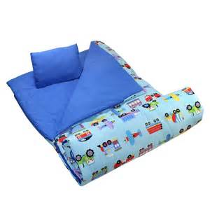 Jungle Bedding Trains Airplanes Fire Trucks Blue Kids Sleeping Bag