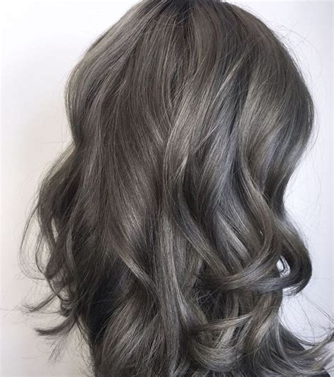 pictures of dark brown hair with gray highlights 81 best images about hair on pinterest dark pewter and ash