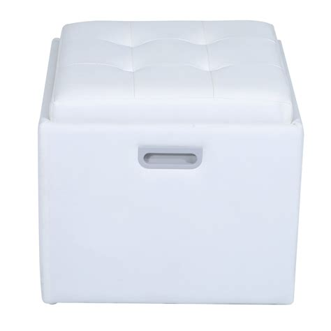 white storage ottoman with tray homcom 14 quot tufted square storage ottoman with tray white