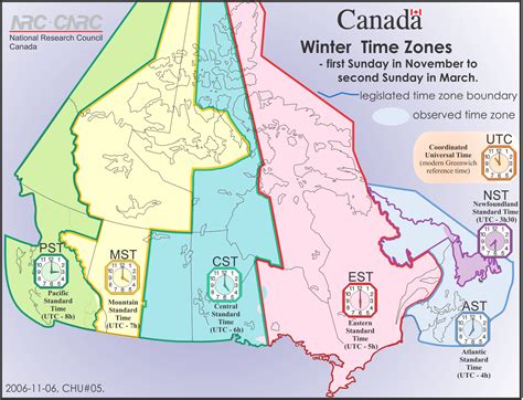 canadian map and time zones
