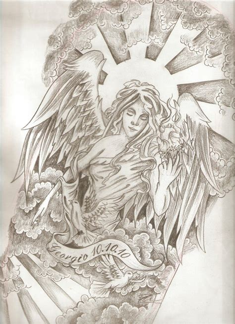 angel tattoo drawings viewing gallery for half sleeve designs drawings