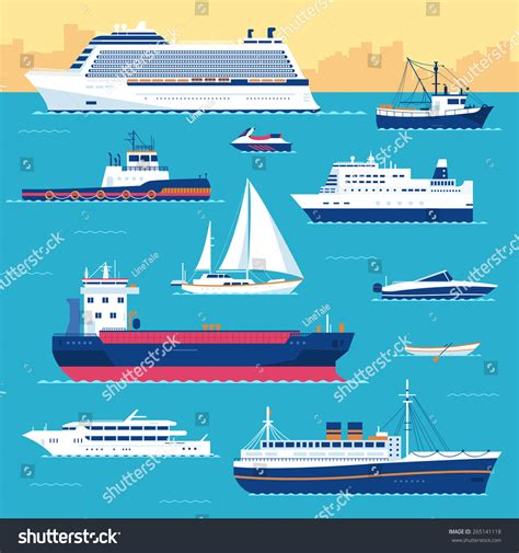 boat yacht ship difference set flat yacht scooter boat cargo stock vector 265141118