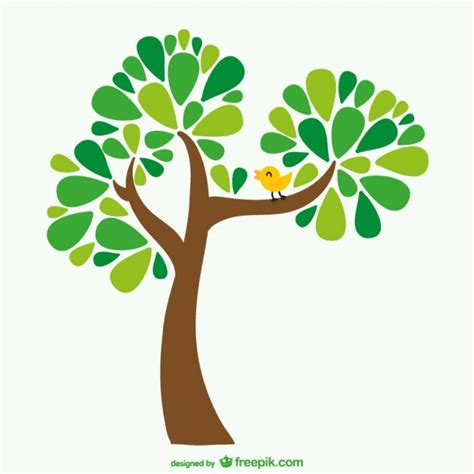 comic tree tree and bird vector free